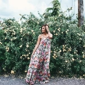 Free people open back floral maxi dress